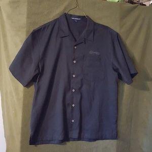 New black polyester/Rayon shirt advertising Schram